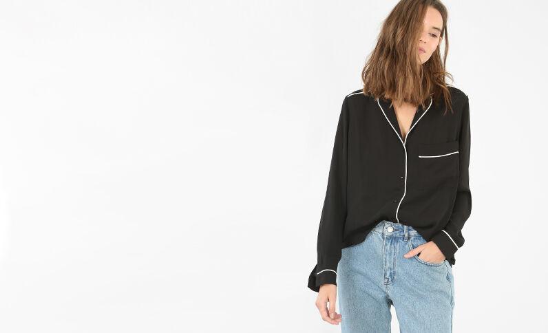 Camisa estilo pijama negro