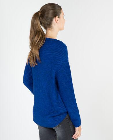 Weiter Pullover mit V-Ausschnitt Blau