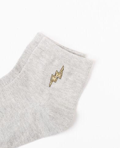 Sokken met geborduurde bliksemprint grijs