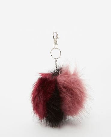 Porte-clés en fausse fourrure rose