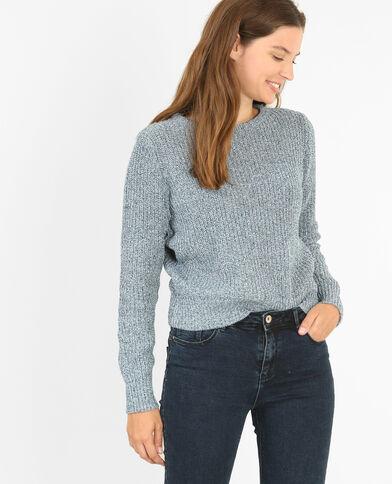 Grob gestrickter Pullover Blau