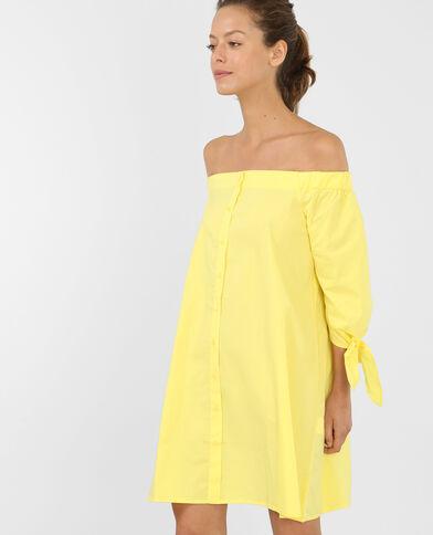 Gestreepte jurk met bardothals geel
