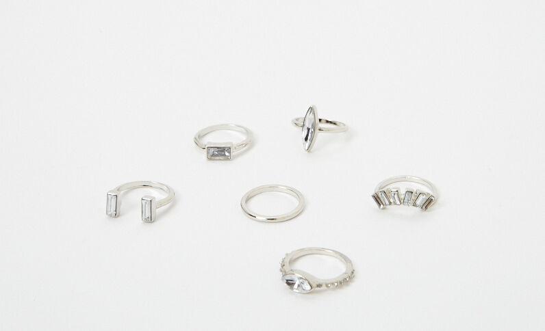 6er-Set modische Ringe Rosa