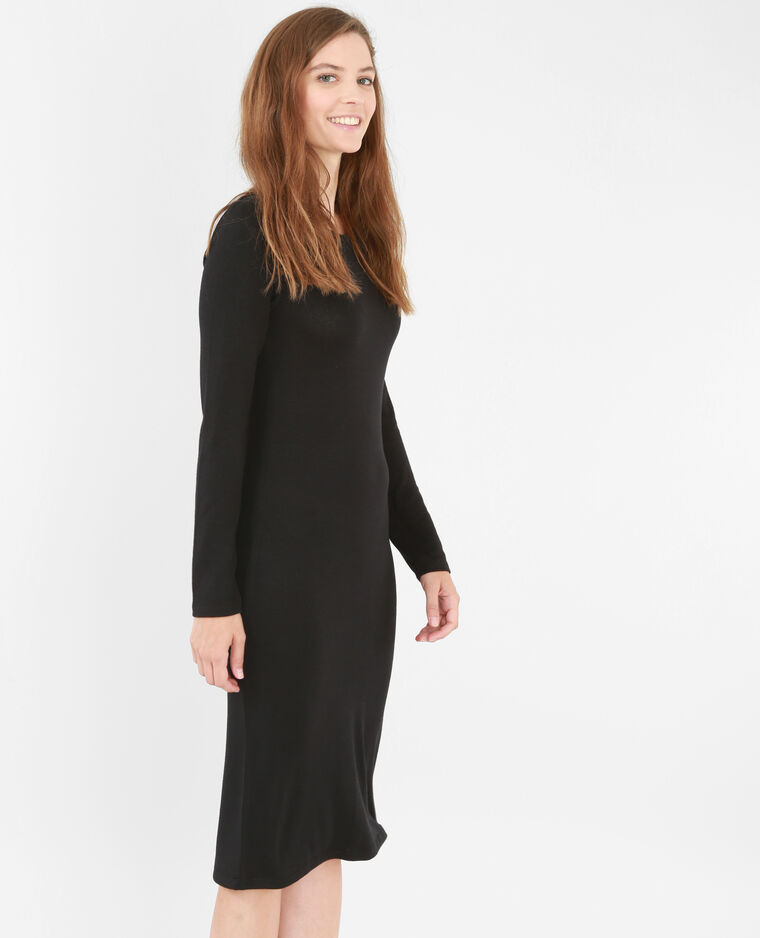 Langes Pulloverkleid Schwarz