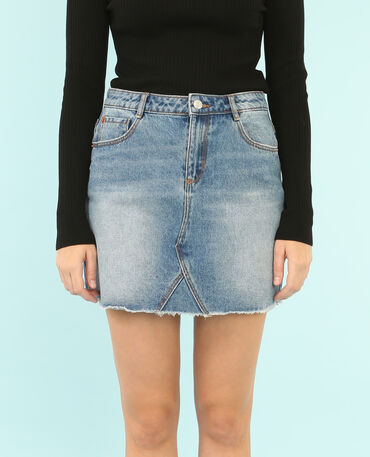 Mini jupe denim bleu