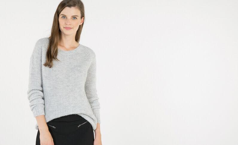 Mohair-Pullover Grau meliert