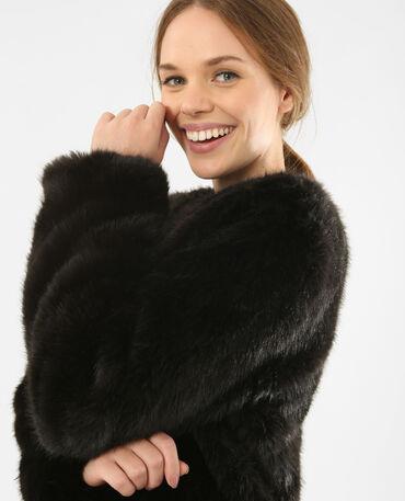 Giacca in pelliccia ecologica nero