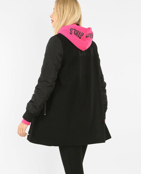 Mantel im Teddy-Stil Schwarz