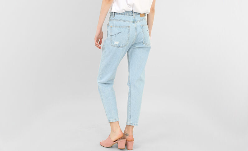 Destroyed mom jeans blauw