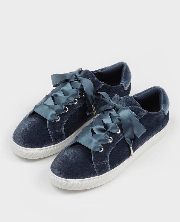 Zapatillas con cordones satinados azul