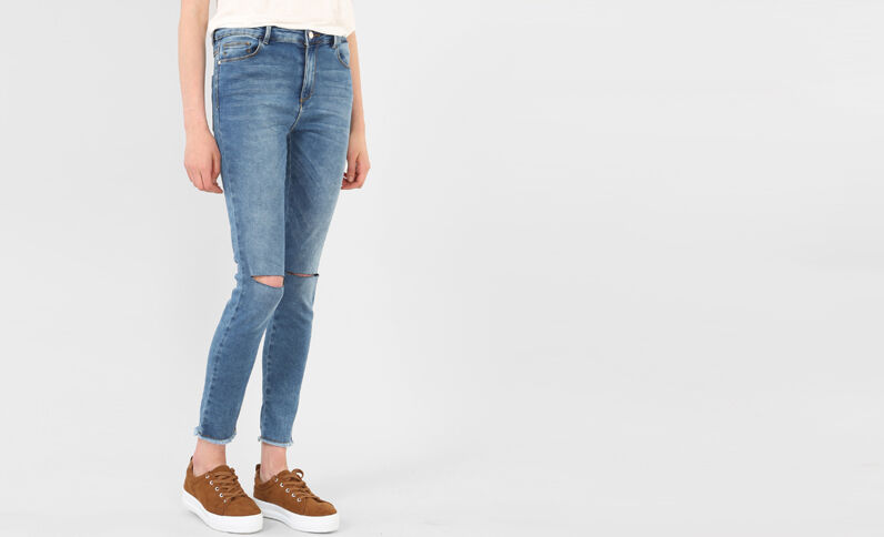 Jegging cut genoux bleu denim
