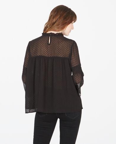 Blusa plumetis bordada negro
