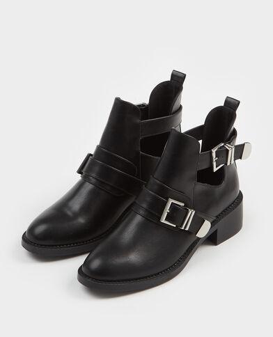 Botines con tiras negro