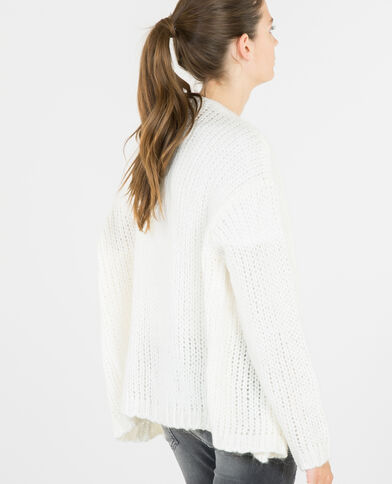Cardigan a maglia spessa bianco sporco