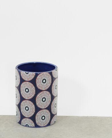 Vase à motifs bleu