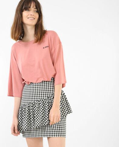 Wijd T-shirt met boodschap roze