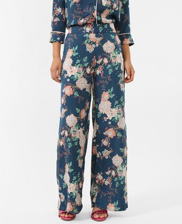 Pantalón tipo pijama satinado azulón