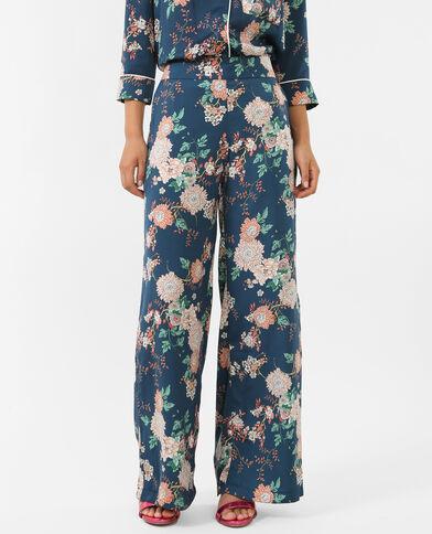 Satinhose im Pyjama-Style Türkis
