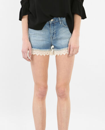 Short en jean avec guipure bleu