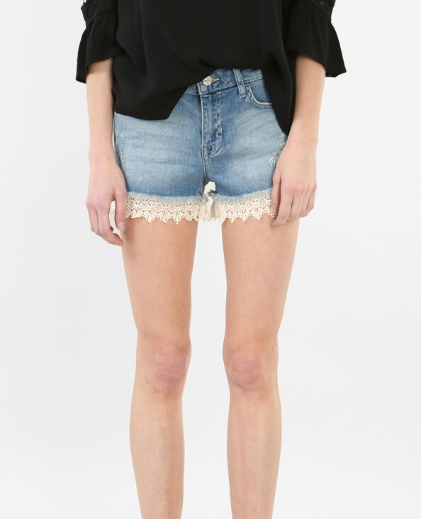 Short in jeans con guipure blu