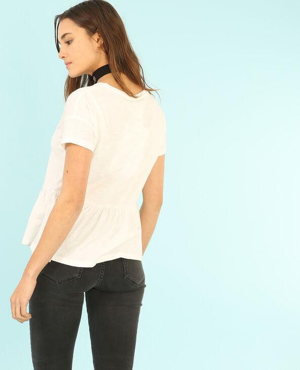 T-shirt peplum blanc cassé