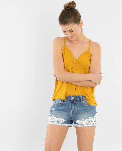Camiseta de tirantes trenzados amarillo mostaza