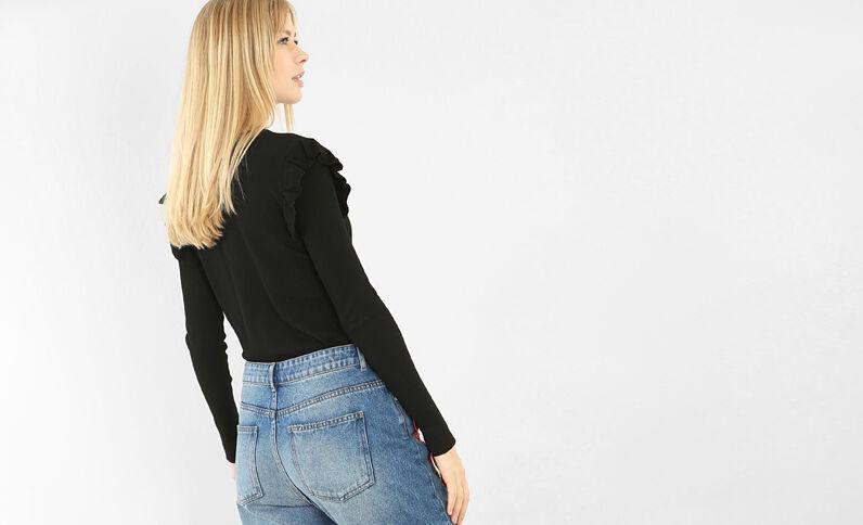 Pullover mit Rüschen an den Schultern Schwarz