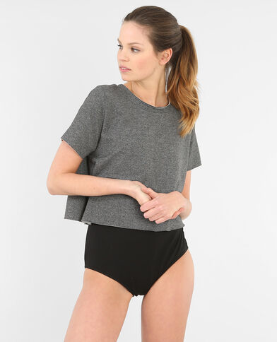 T-shirt cropped gris