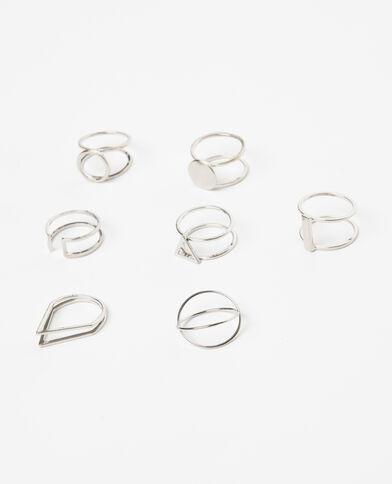 Set van 7 ringen roze