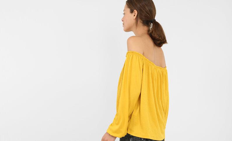 Blouse col bardot jaune moutarde