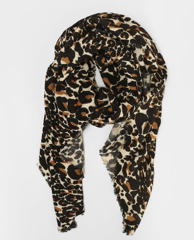 Dünner Schal mit Leoparden-Print Braun