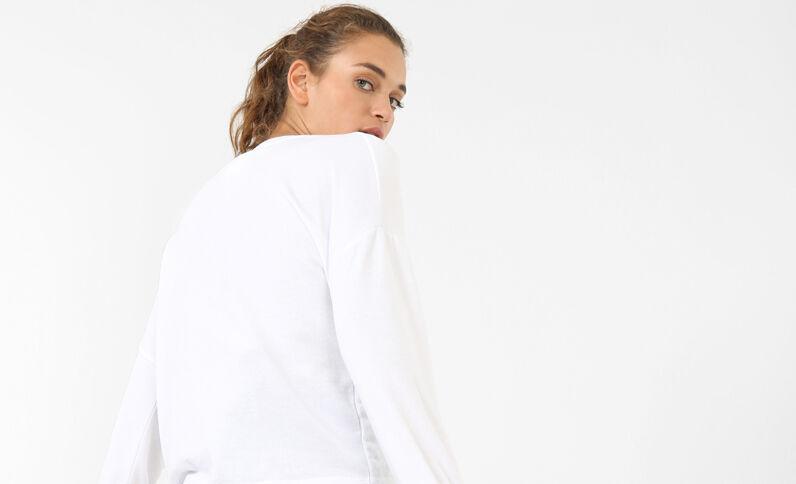 Sweatshirt mit Kordelzug Naturweiß