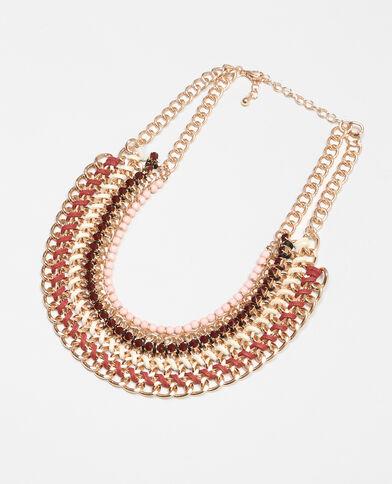 Mehrreihige Plastron-Halskette Kupferrot