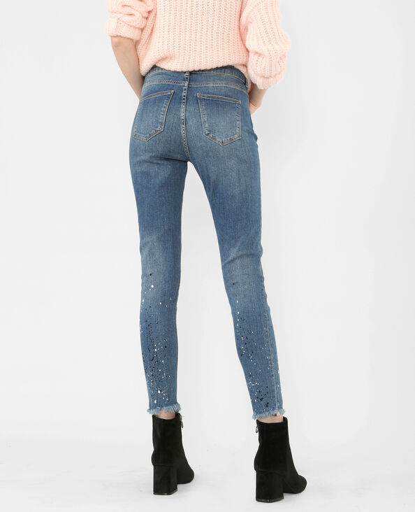 Skinny-Jean Farbklecks-Optik Blau