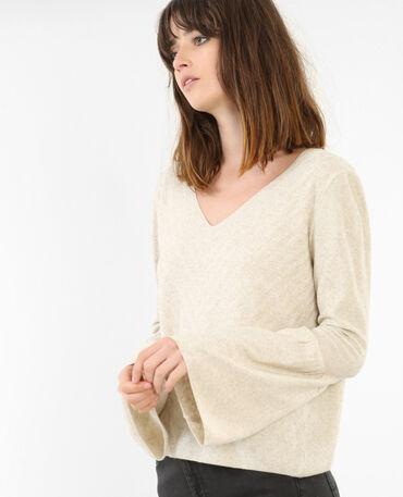 Pullover mit Pagoden-Ärmeln Beige