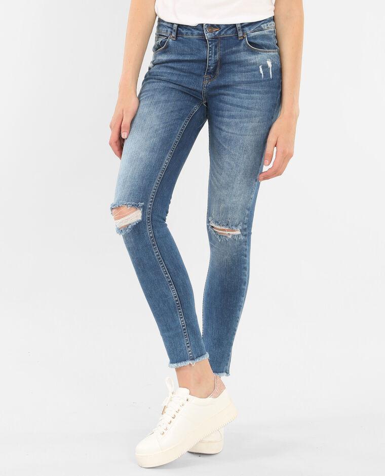 Jeans skinny raw cut azul vaquero