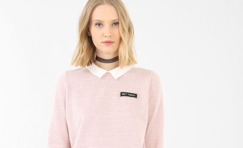 2-in-1-Sweatshirt mit Lurex Rosa