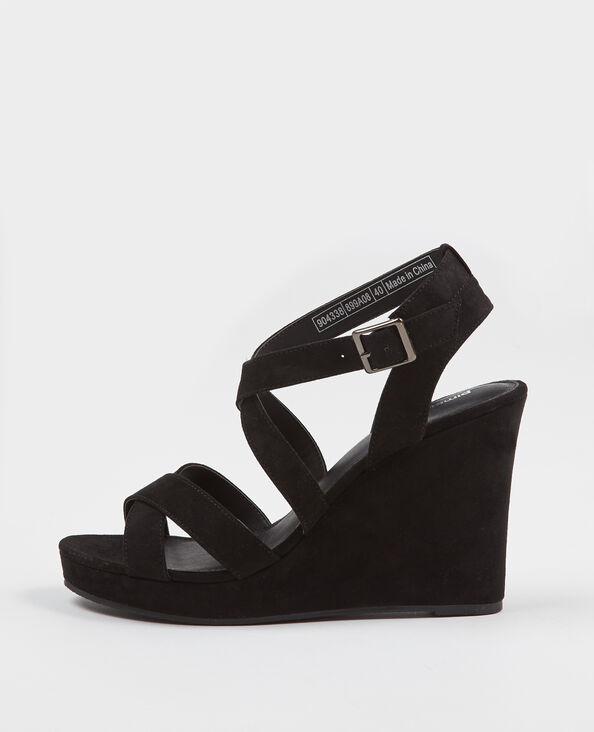 Sandalen met sleehak zwart