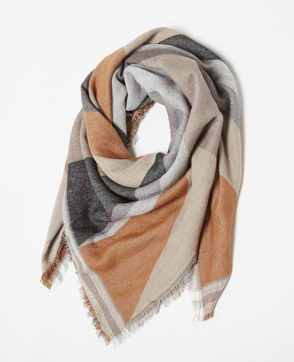Bufanda cálida con motivos marrón
