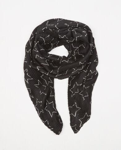 Geplooide foulard met sterretjesprint zwart
