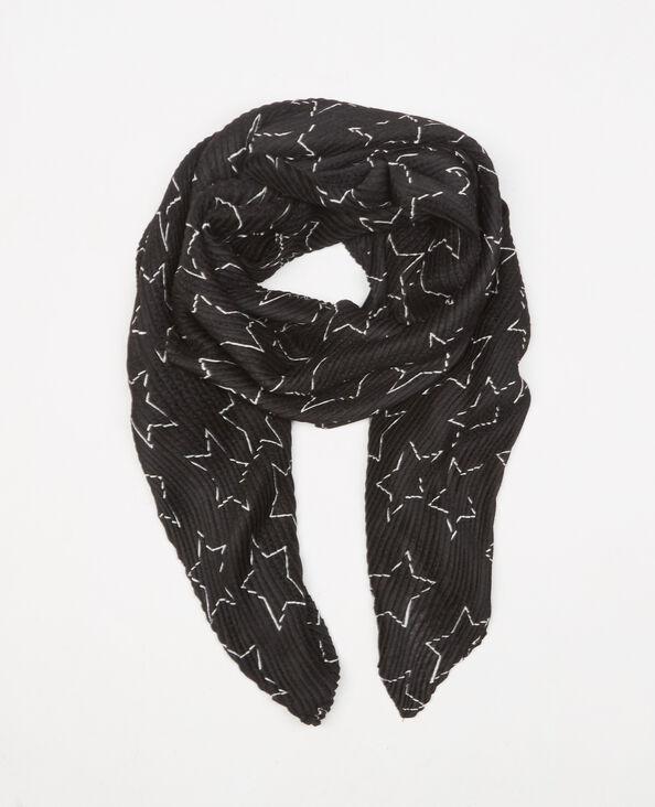 Foulard plissé étoiles noir
