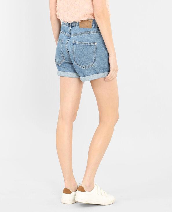 Shorts mit hoher Taille Denimblau