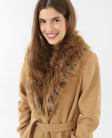 Manteau peignoir long caramel