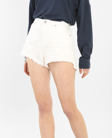 Gerafelde denim short wit