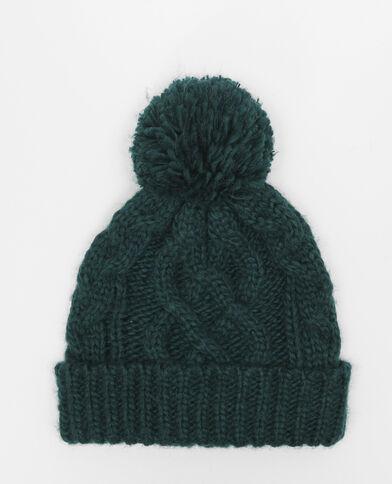 Mütze mit Zopfmuster und Bommel Wassergrün