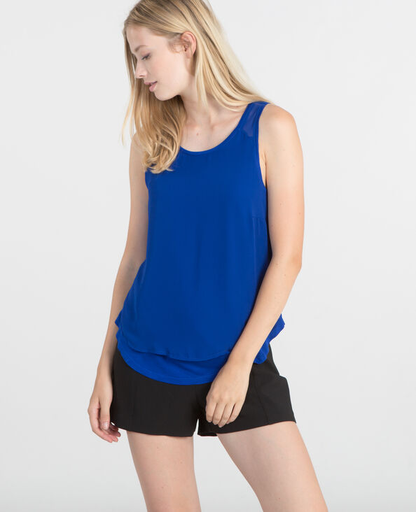 Top aus Materialmix Metallic-Blau