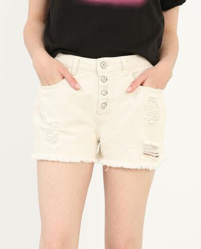 Shorts vaqueros de talle alto marfil