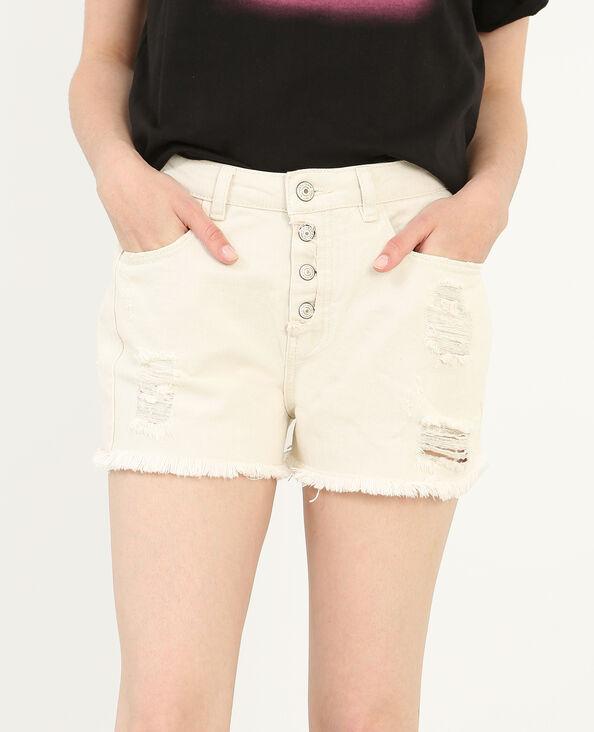 Jeansshort met hoge taille gebroken wit