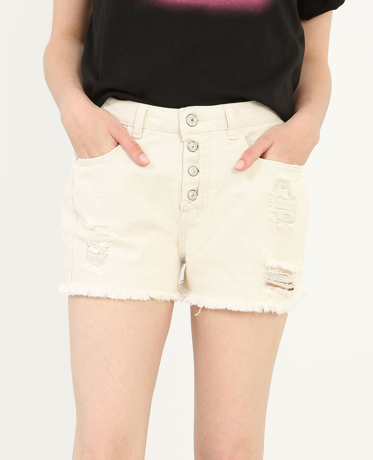 Short in jeans a vita alta bianco sporco 140321915a09 for Decorazione jeans