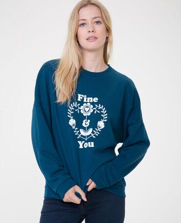 Sweater met opschrift eendenblauw